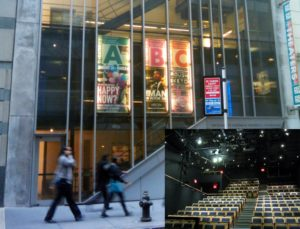 The interior and exterior of Theater A at 59E59 Theaters in NYC.